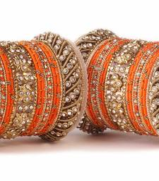 Buy Traditional orange silk thread bangle set  for two hands bangles-and-bracelet online
