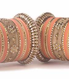 Buy Traditional peach kundan bangle set for two hands in matte finish bangles-and-bracelet online