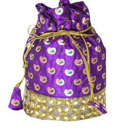 Buy Purple Brocade Silk Stonework Potli bag potli-bag online