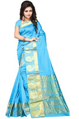 Sky blue woven manipuri silk saree with blouse