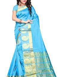 Buy Sky blue woven manipuri silk saree with blouse manipuri-silk-saree online