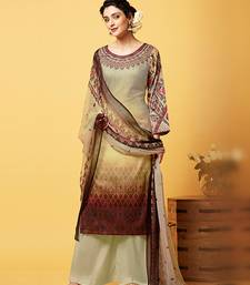 Buy Beige printed cotton and satin semi stitched salwar with dupatta palazzo online