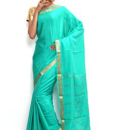 Buy Sudarshan silks Wonderful Pure Mysore silk saree-Blue-SSSB134-VQ-Crepe silk-saree online