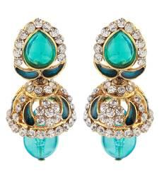Buy Zinc Alloy Green Meenakari Gold Plated Austrian Stone Dangler Earrings Woman online