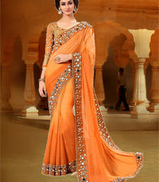 Buy orange embroidered georgette saree with blouse indian-dress online