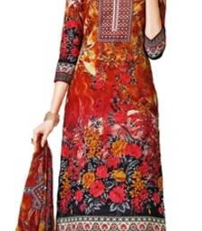 Buy red embroidered lawn cotton unstitched salwar with dupatta dress-material online