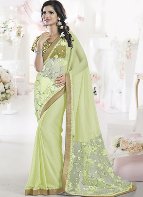 Lime embroidered chiffon saree with blouse