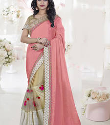 Buy Light pink embroidered silk saree with blouse bridal-saree online