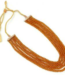 Buy Five strings brown color crystal mala necklace Necklace online