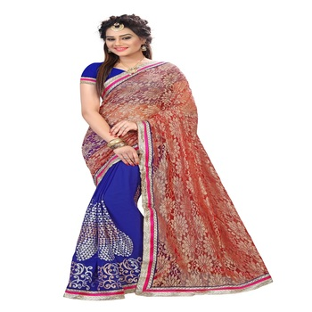 raksha bandhan sarees saree Special Blue and Orange embroidered georgette Saree