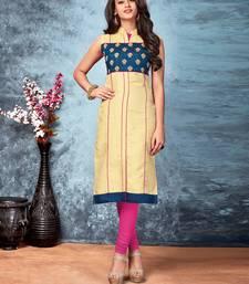 Buy Cream embroidered silk silk-kurtis eid-kurti online