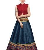 Buy blue printed bangalore silk lehenga