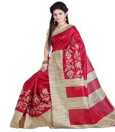 Buy cream printed art silk saree with blouse printed-saree online