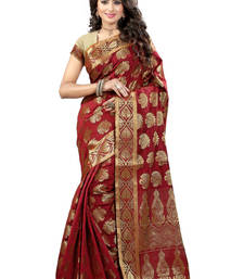 Buy Red hand woven jacquard saree with blouse jacquard-saree online