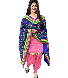 Buy Pink embroidered cotton semi stitched salwar with dupatta punjabi-suit online