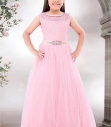 Buy Baby Pink HandWork Lycra With Satin Silk Net Partywear ReadyMade Designer Kids Gown (4-14 year girl) black-friday-deal-sale online