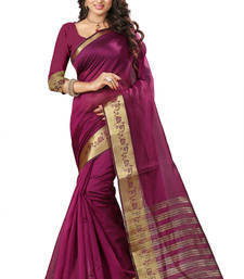 Buy Magenta woven banarasi silk saree with blouse banarasi-saree online