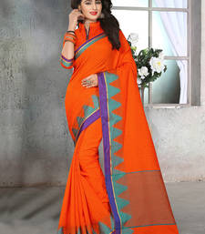 Buy Orange woven jute cotton saree with blouse cotton-saree online