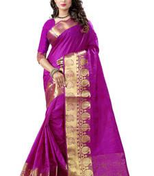 Buy Violet hand woven banarasi silk saree with blouse banarasi-silk-saree online