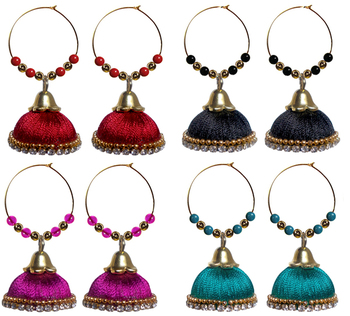 Pack of four royal silk thread jhumkas
