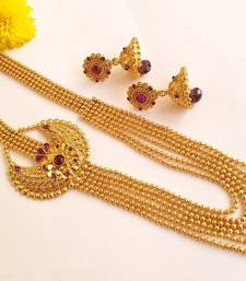 Buy Pretty Purple Kemp Multilayer Necklace Set with Matching Jhumkas necklace-set online