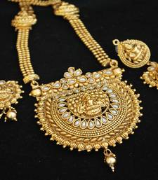 Buy Fine Detailed Goddess Laksmi Long Necklace set in Pearls south-indian-jewellery online