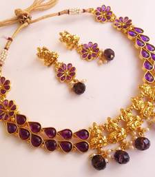 Buy Amazing Purple Kemp Temple Jewellery with Pearl Drops necklace-set online