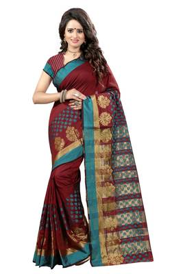 Maroon printed tussar silk saree with blouse