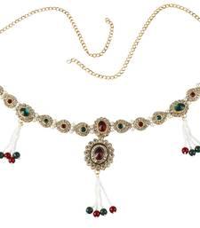 Buy Red Green Pearl Gold Plated Copper Kamarband Saree Waist Belt For Women waist-belt online