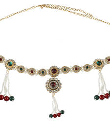 Buy Red Green Pearl Gold Plated Copper Kamarband Saree Waist Belt waist-belt online