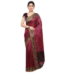 Buy Wine plain tussar silk saree with blouse tussar-silk-saree online