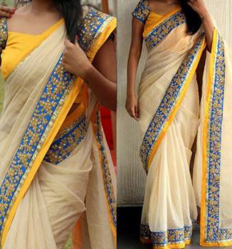 Cream embroidered chanderi art silk saree with blouse