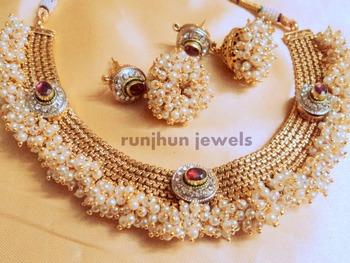 designer pearls polki necklace