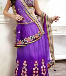 Buy Purple embroidered net unstitched lehenga wedding-season-sale online