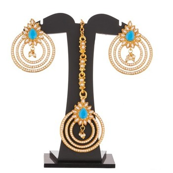 Torquise Blue and White Pearl embelisshed Earrings and Maang tikka Combo set