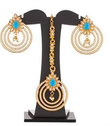 Buy Torquise Blue and White Pearl embelisshed Earrings and Maang tikka Combo set jewellery-combo online