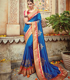 Buy Blue embroidered art silk saree with blouse party-wear-saree online