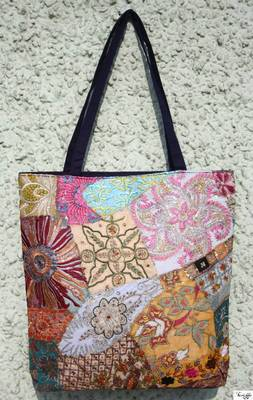 Traditional Shopping Bag with Hand embroidered patch work