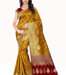 Buy Yellow printed banarasi silk saree with blouse banarasi-silk-saree online