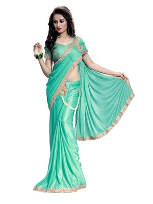 Sky blue embroidered crepe saree with blouse