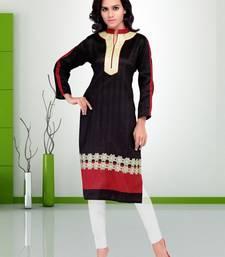 Buy Black printed silk silk-kurtis silk-kurti online
