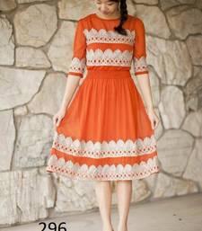 Buy Orange embroidered georgette kurtis georgette-kurti online