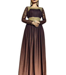 Buy Dark brown embroidered art silk semi stitched salwar with dupatta party-wear-gown online
