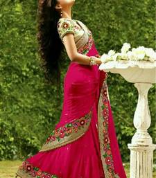 Buy Pink embroidered georgette saree with blouse black-friday-deal-sale online