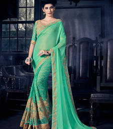 Buy Green designer fancy skirt and border fancy fabrics and c/n paper silk saree with blouse heavy-work-saree online