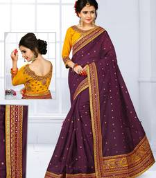 Buy Plum embroidered chanderi silk saree with blouse chanderi-saree online
