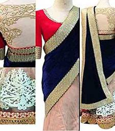Buy Royal blue embroidered net saree with blouse velvet-saree online