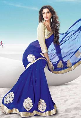 New Latest Blue Party Wear Chiffon saree