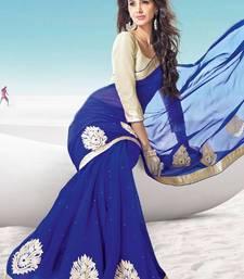 Buy New Latest Blue Party Wear Chiffon saree chiffon-saree online