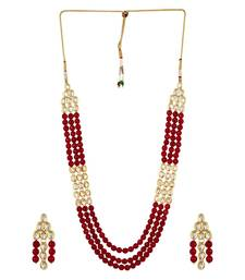 Buy Kundan and Red Onyx Semi precious Necklace set with earrings necklace-set online